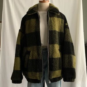 Urban Outfitters Plaid Sherpa Coat